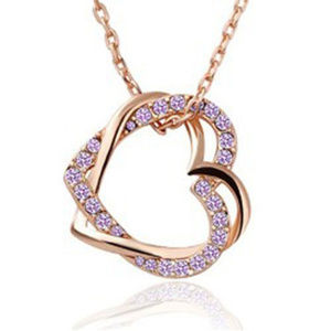 Jewelry - Rose gold lilac CZ double heart pendant necklace
